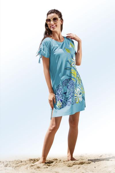 Strandshirt mit kurzen Ärmeln und platziertem Druckdessin - Bade- und Strandmode-Trends 2019