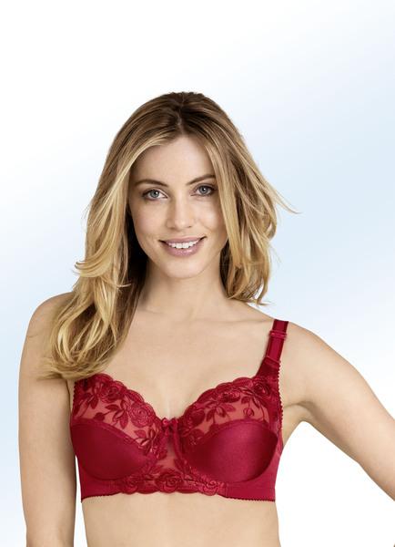 Miss Mary Bügel-BH mit floraler Tüllstickereispitze im Vorderteil - Rote Unterwäsche Silvester
