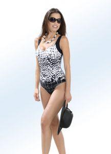 Schwab Badeanzug mit platziertem Druckdessin und Halbkorsage - Leichte Stoffe für den Sommer