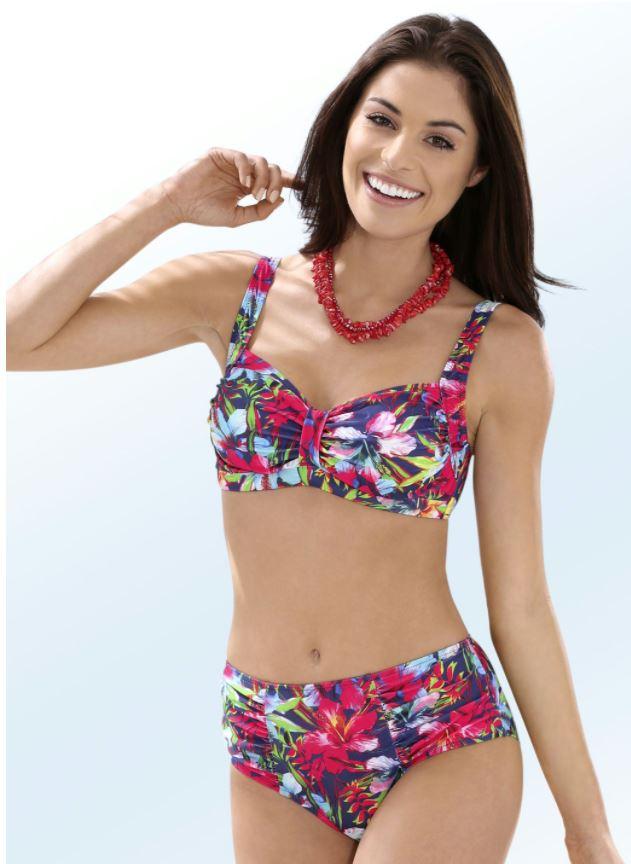 Bikini mit herausnehmbaren Softschalen, Zierschlaufe und Druckdessin allover