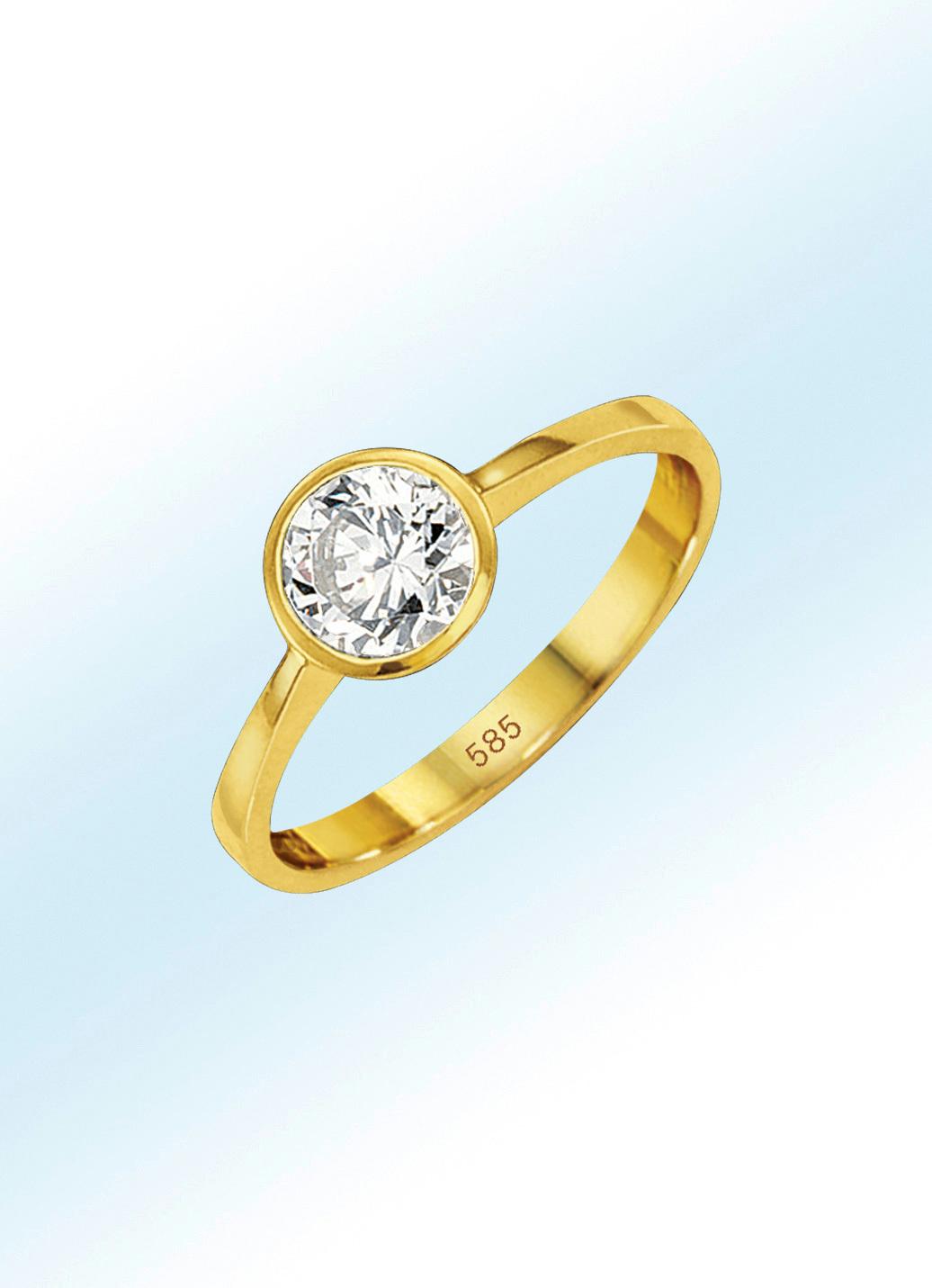 Entzückender Damenring mit Brillant mit 050 ct. in Gold 585/- fein Größe 16.0 Damen Preisvergleich