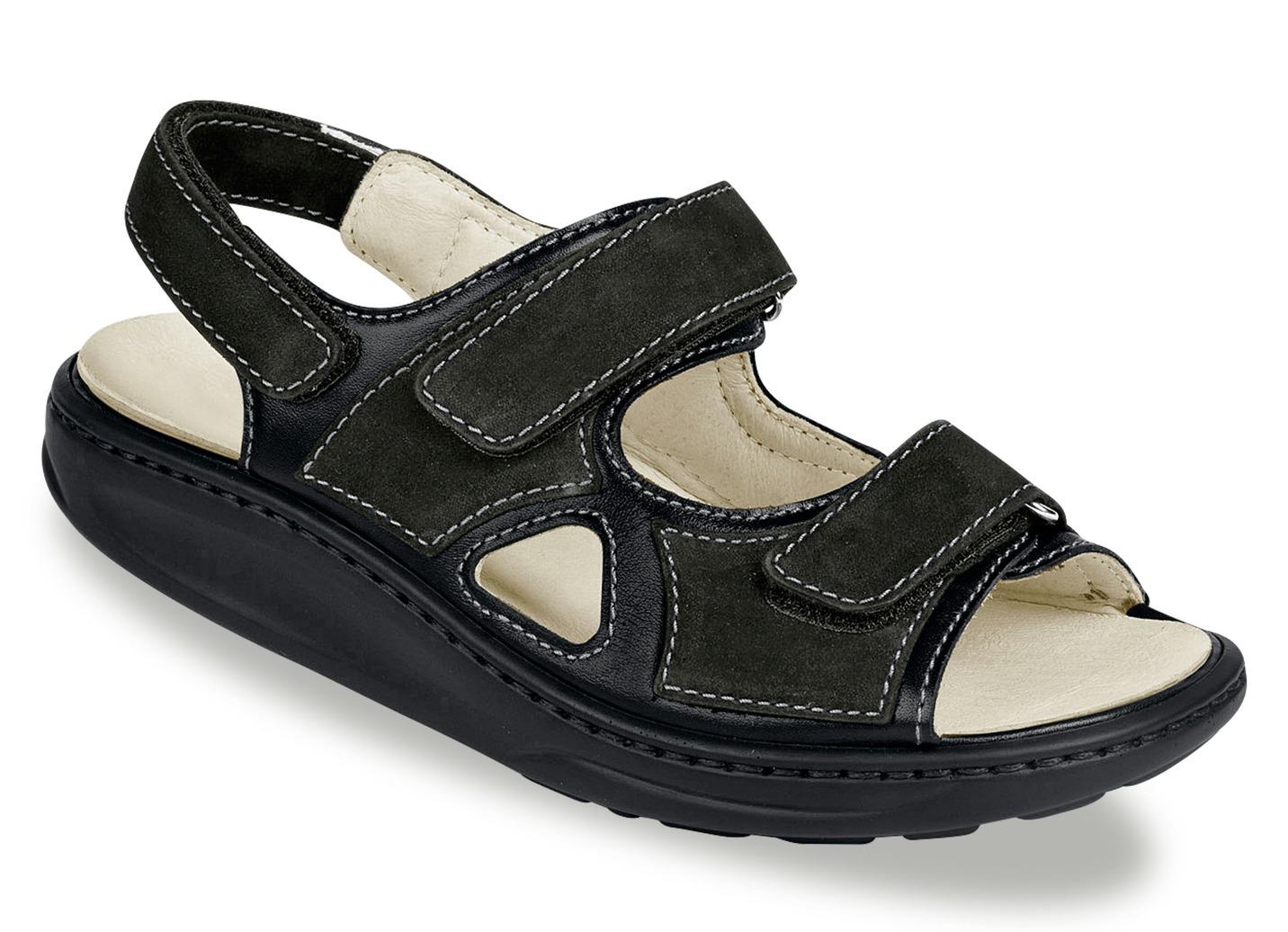 Sandalette  mit herausnehmbarem Lederfußbett Weite H Schwarz Schuhgröße 8 Damen Preisvergleich