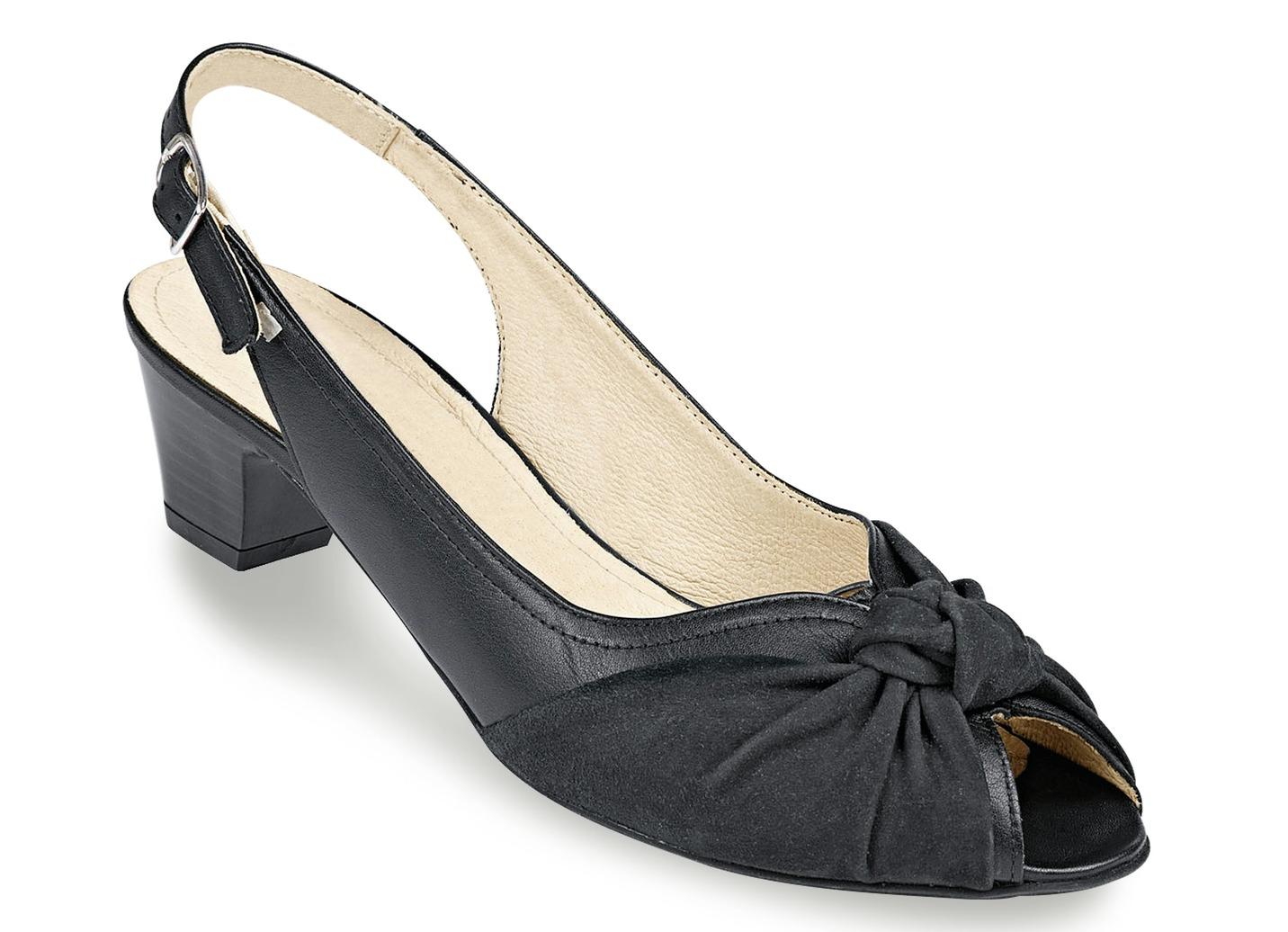 Elegante Sandalette  mit gepolsterter Lederdecksohle Weite H Schwarz Schuhgröße 3 1/2 Dame Preisvergleich