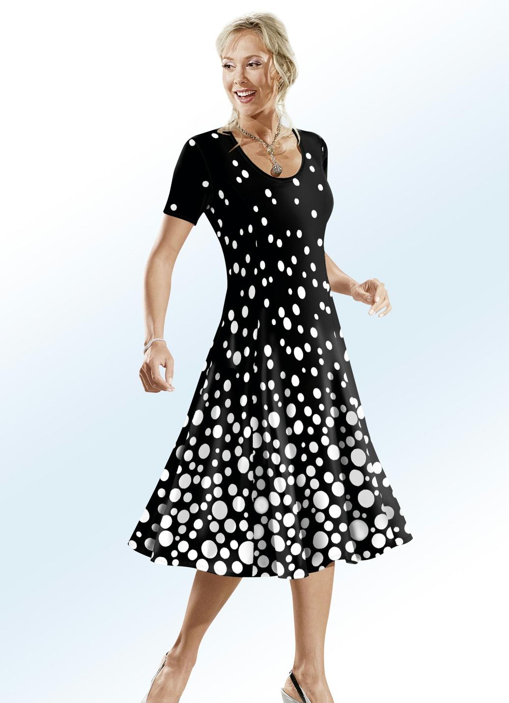 Klaus Modelle Kleid in schwingender Form Schwarz-Weiss Größe 22 Damen Preisvergleich