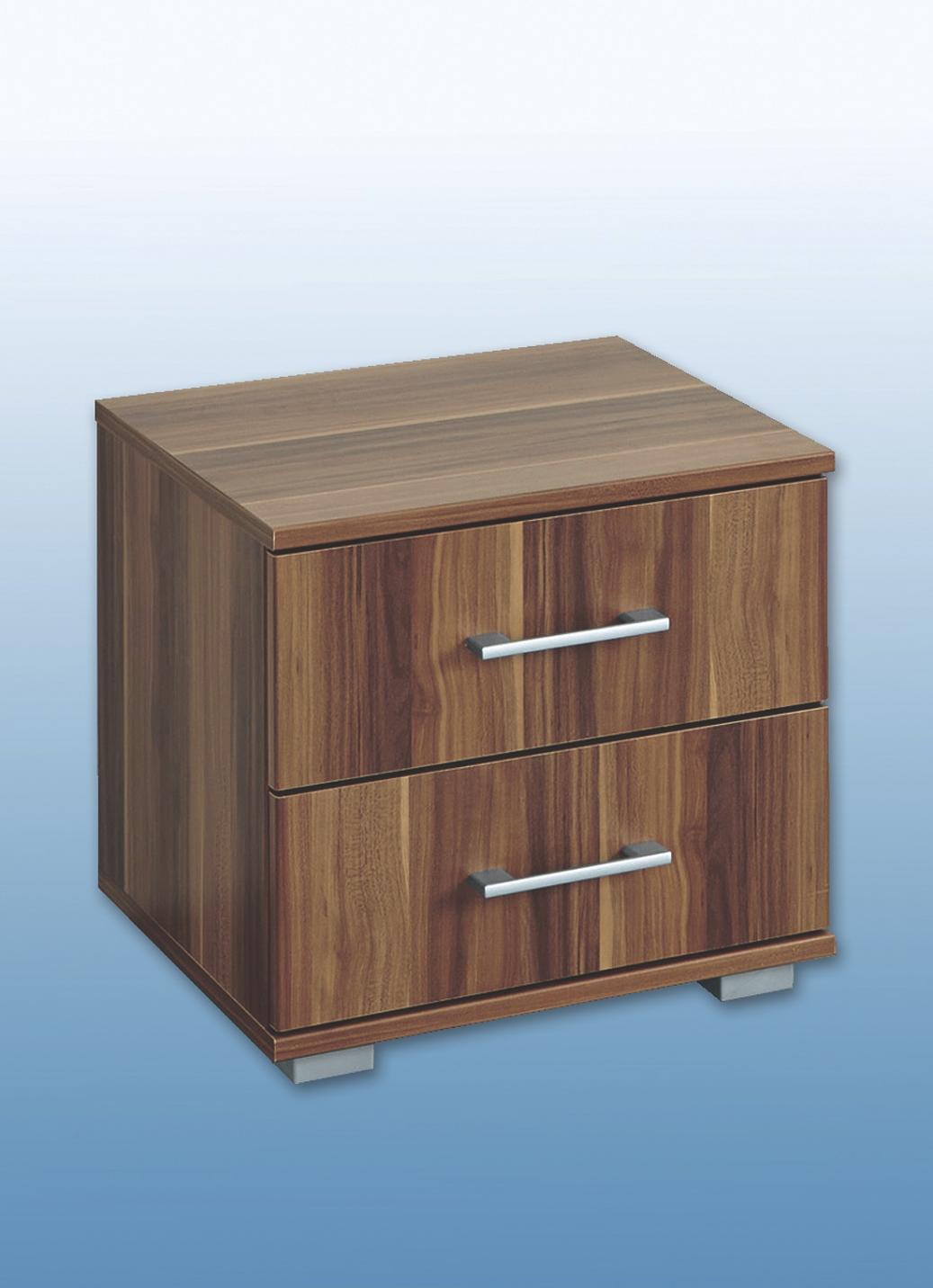 Nachtkonsole in verschiedenen Ausführungen Nachtkonsole mit 3 Schubkästen Nussbaum   Schlafzimmer > Nachttische   Nussbaum   BADER