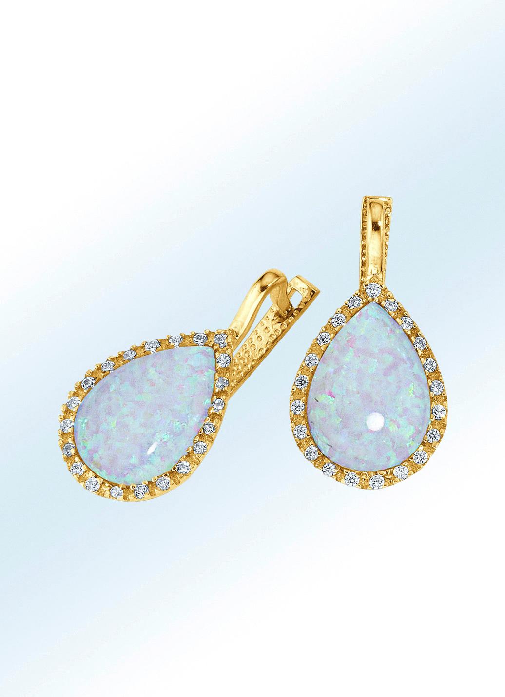 Ohrringe mit echtem Opal-Tropfen und synth. Zirkonia in Gold 585/- fein Damen Preisvergleich