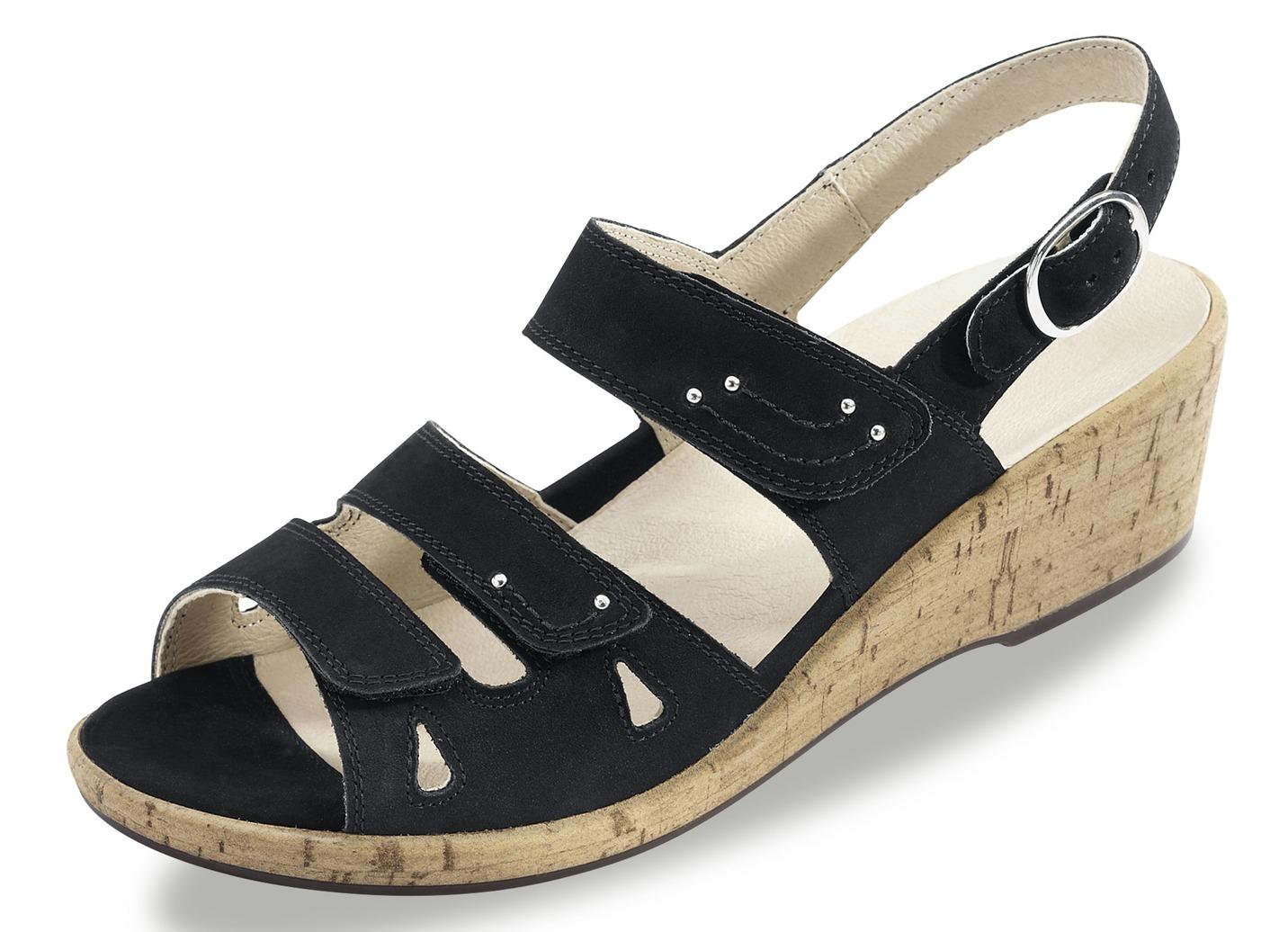 Sandalette  mit herausnehmbarem Lederfußbett Weite H Schuhgröße 7 1/2 Schwarz Damen Preisvergleich