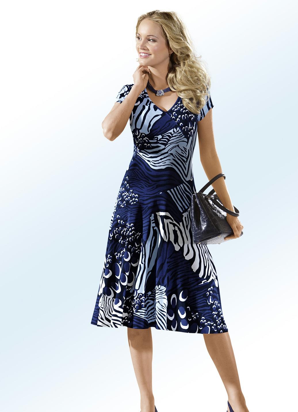 Klaus Modelle Kleid in Wickel-Optik Schwarz-Bunt Größe 44 Damen Preisvergleich