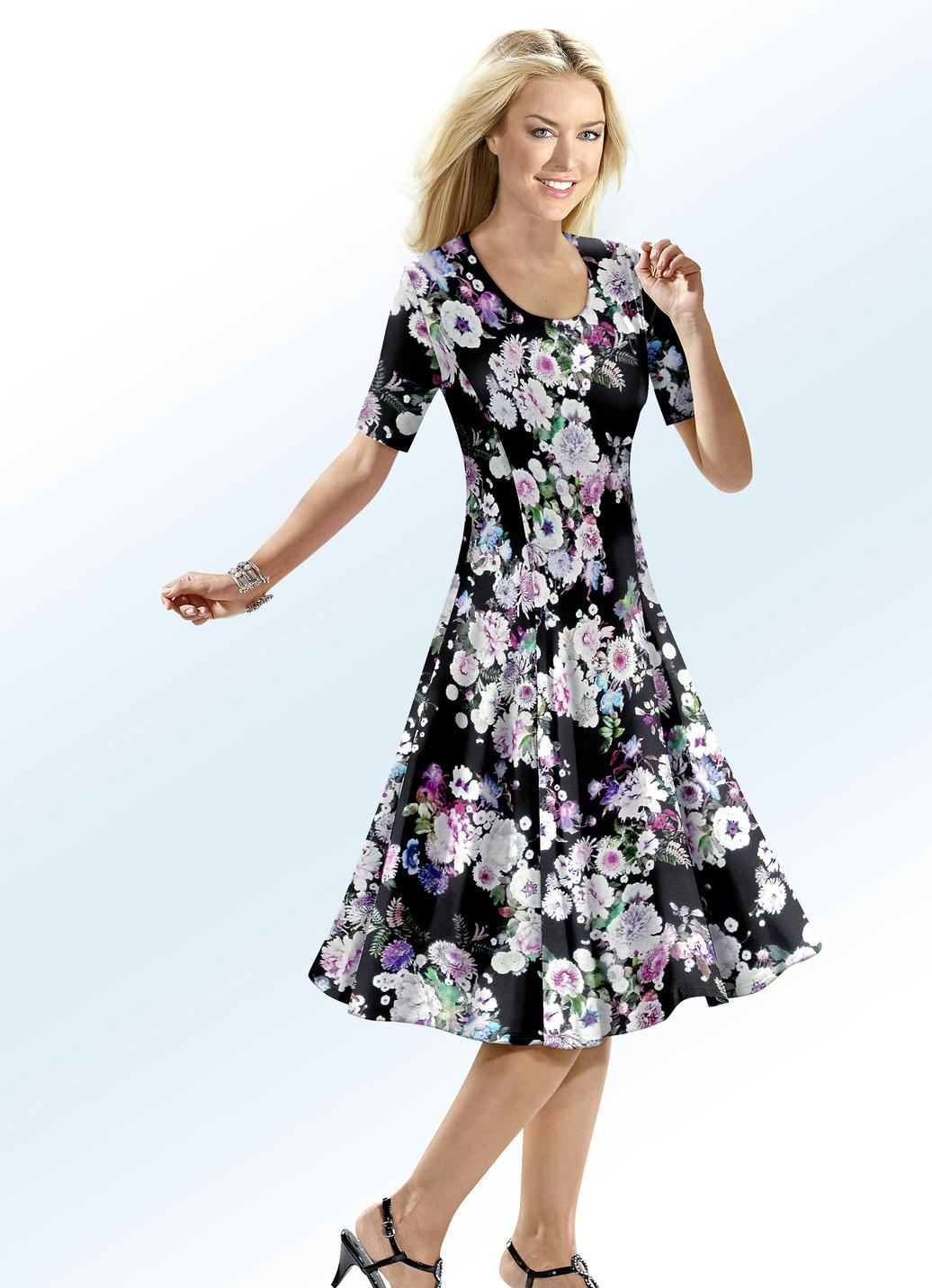Klaus Modelle Kleid mit farbbrillantem Inkjet-Druckdessin Schwarz-Bunt Größe 19 Damen Preisvergleich