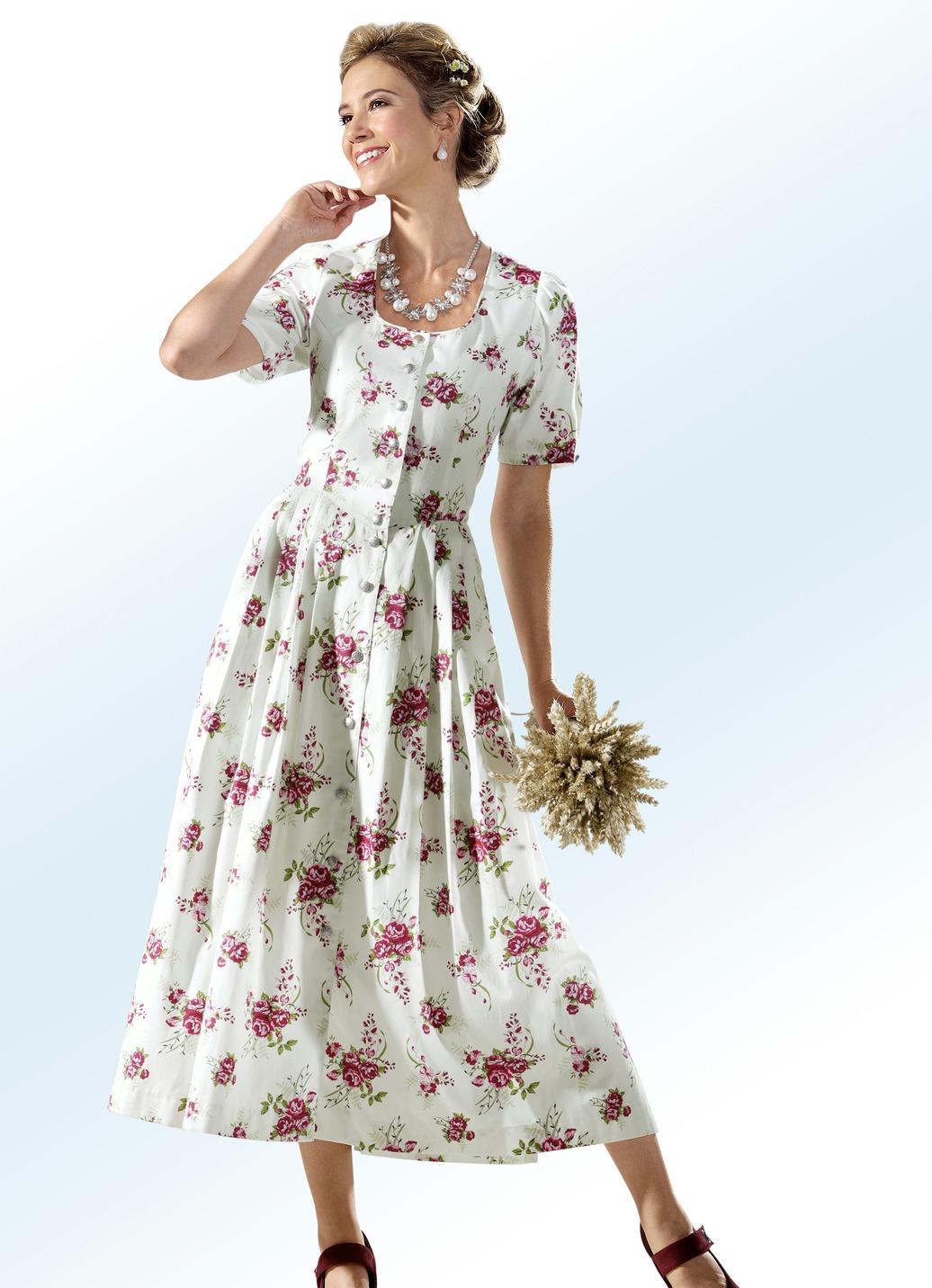 Landhauskleid mit durchgehender Schmuckknopfleiste Ecru-Bunt Größe 23 Damen Preisvergleich