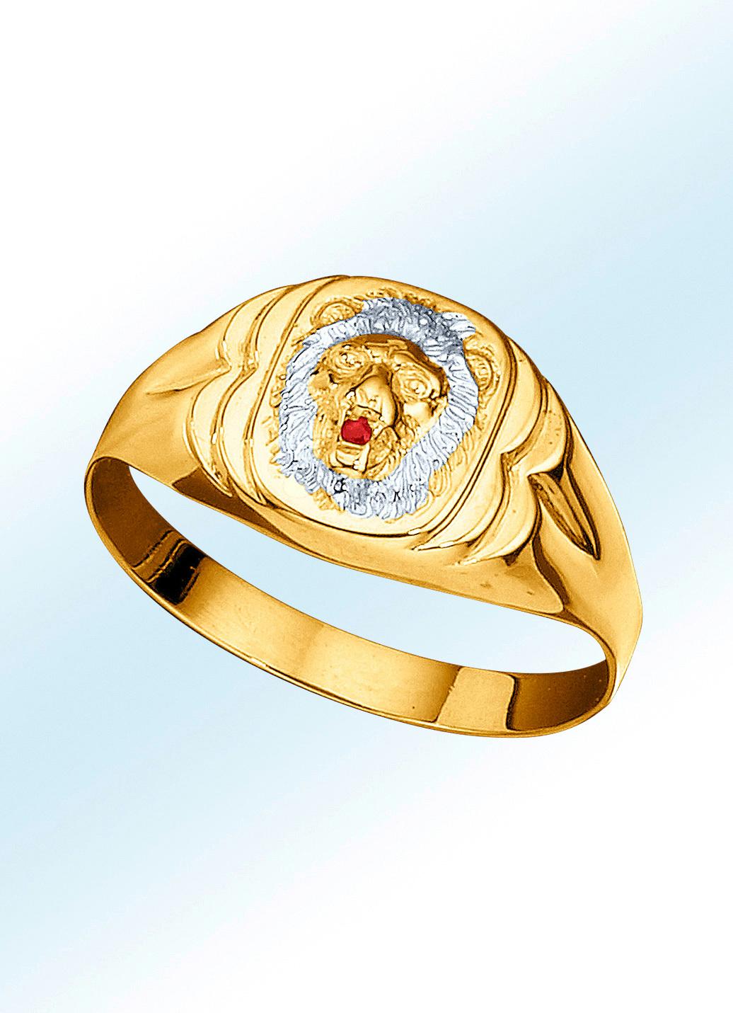 f805e6a618 Herrenring Löwenkopf mit echt Rubin in Gold 333/- fein Größe 19.0 Herren  Preisvergleich