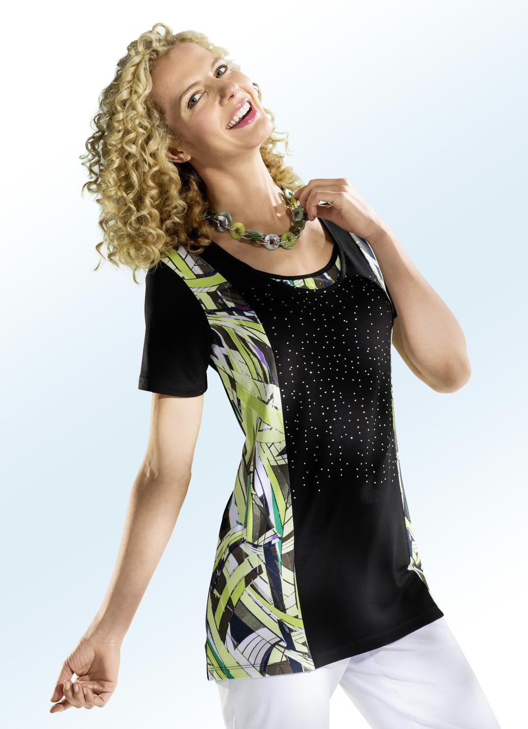 Shirt in Doppel-Optik Schwarz-Kiwi Größe 42 Damen Preisvergleich