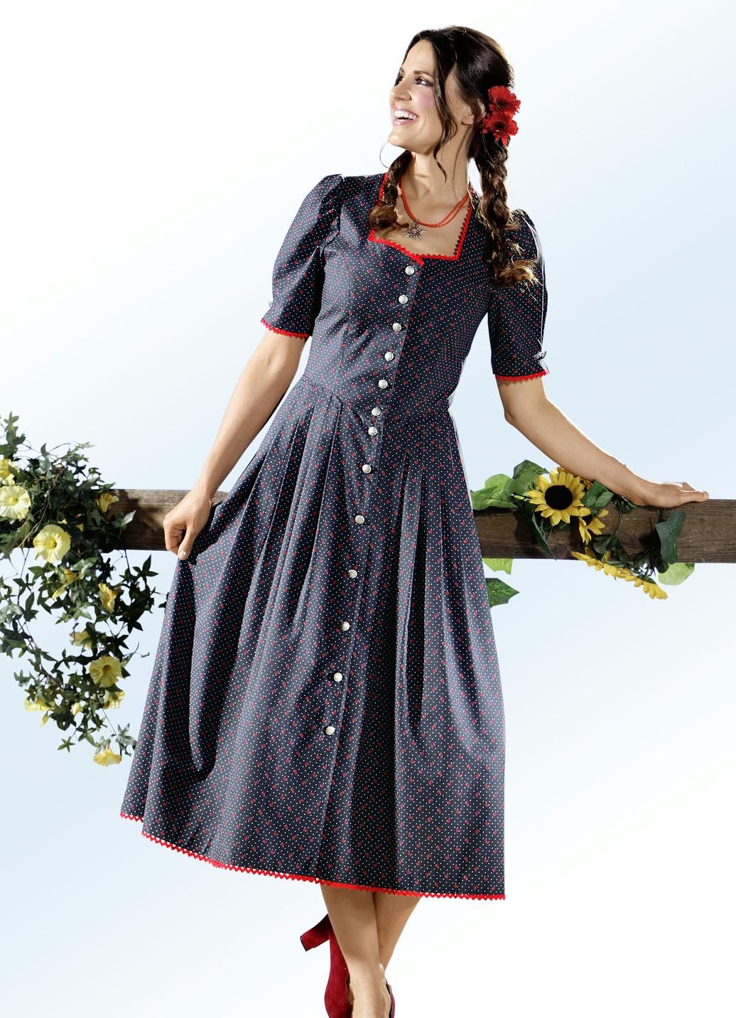 Landhauskleid mit zauberhaftem Tupfen- und Floraldessin Anthrazit-Rot Größe 22 Damen Preisvergleich