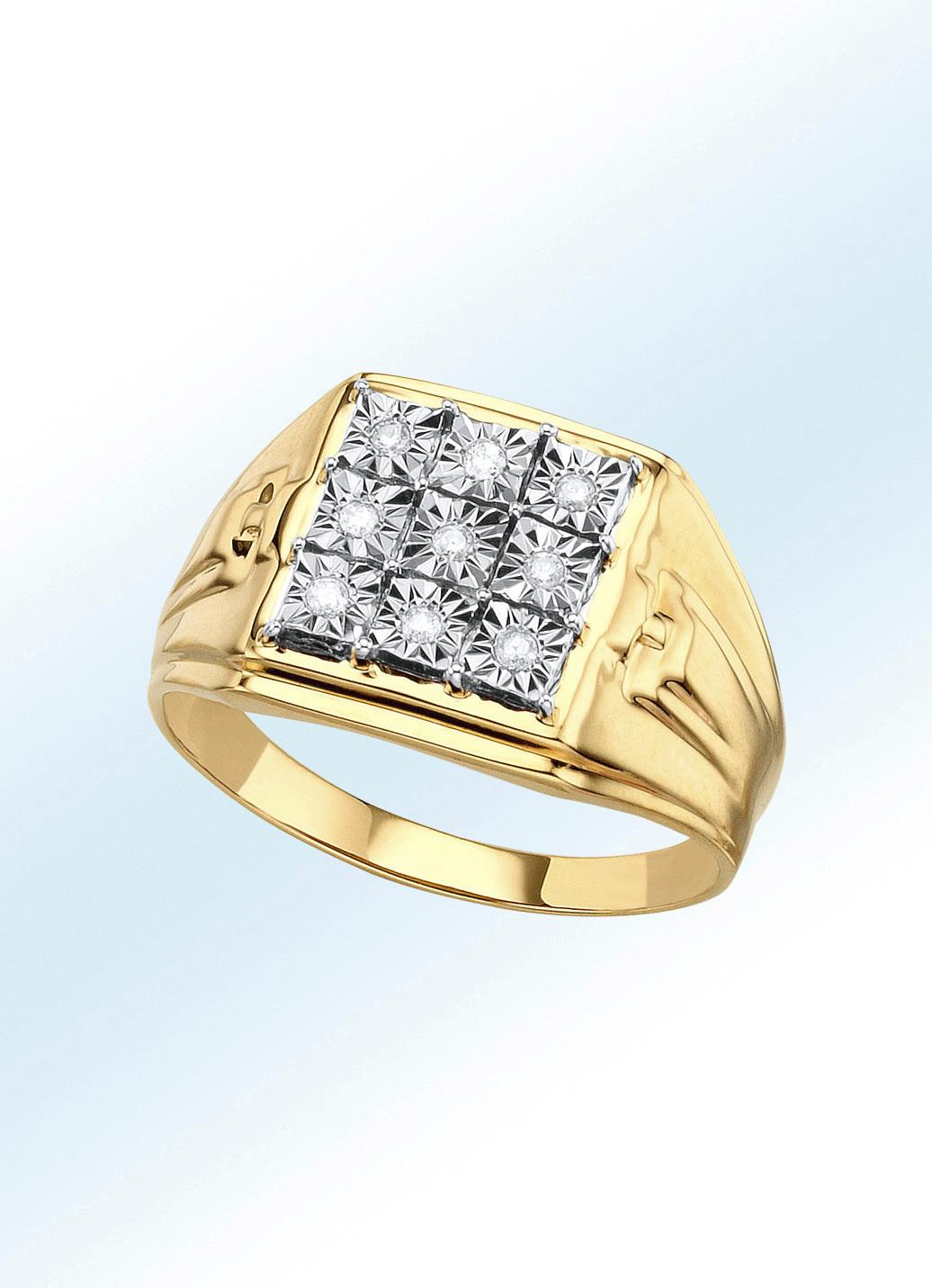 85805a9b5d Interessanter Herrenring mit Brillanten in Gold 585/- fein Größe 20.0 Herren  Preisvergleich