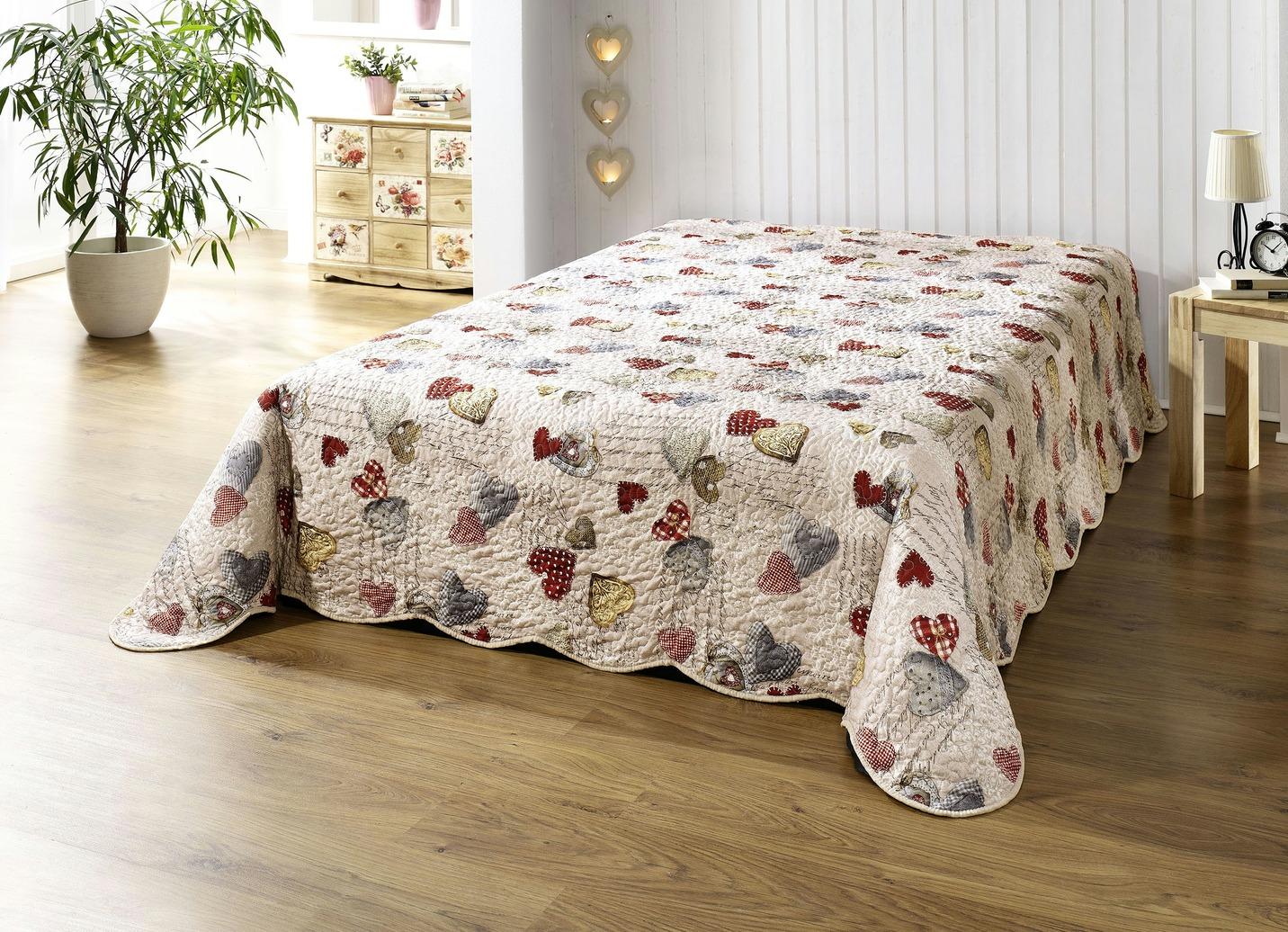 Dreams Tagesdecke mit Herzchen-Motiven Größe 914 (für Doppelbett 280x210 cm) Bunt Preisvergleich