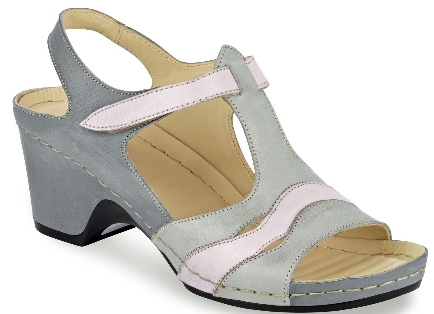 Attraktive Sandalette  mit Leder-Massagefußbett Weite G Hellgrau-Rosa Größe 41 Damen Preisvergleich