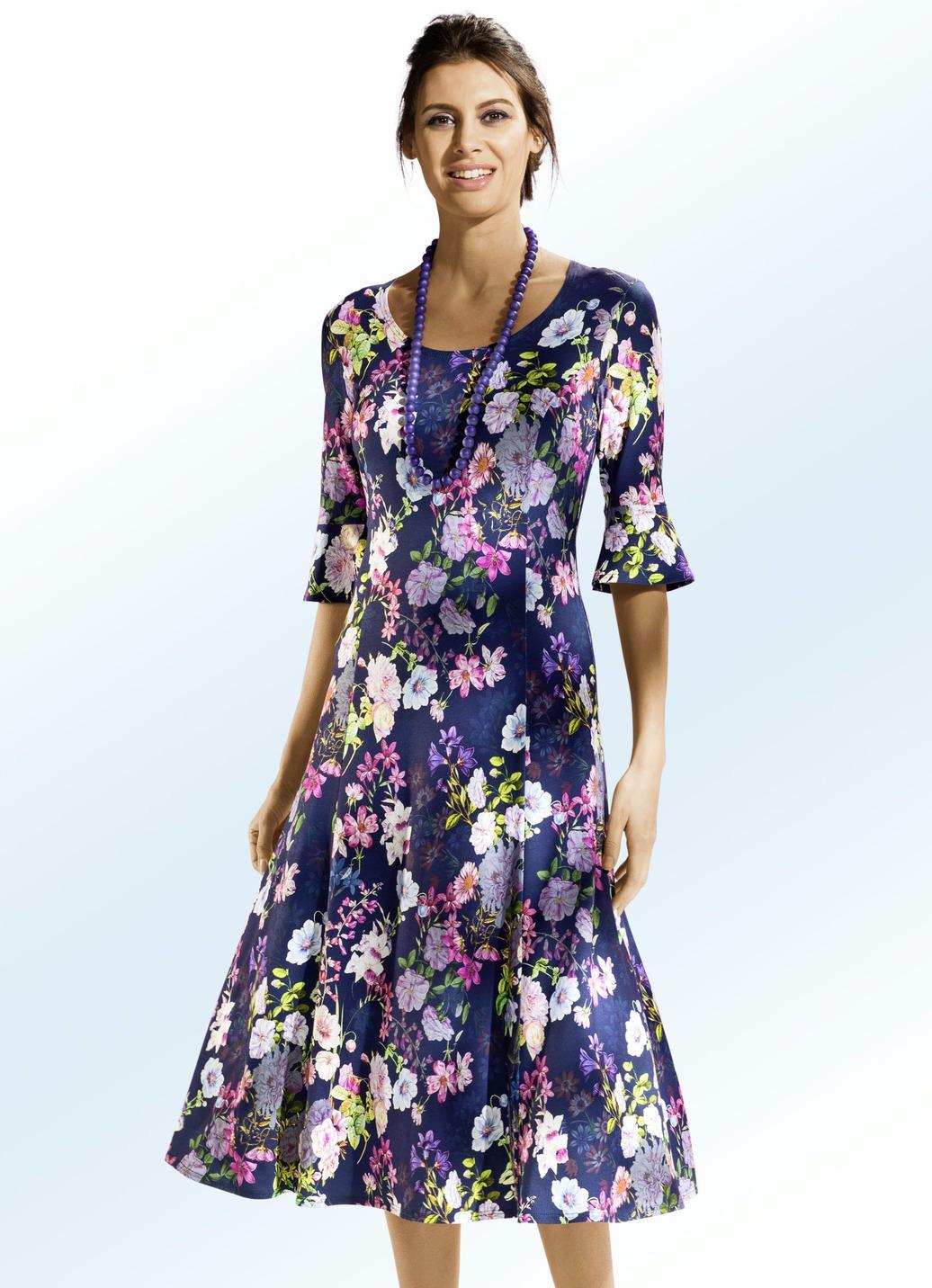 Leicht tailliertes Kleid in modischer Schlupfform Marine-Bunt Größe 548 Damen Preisvergleich