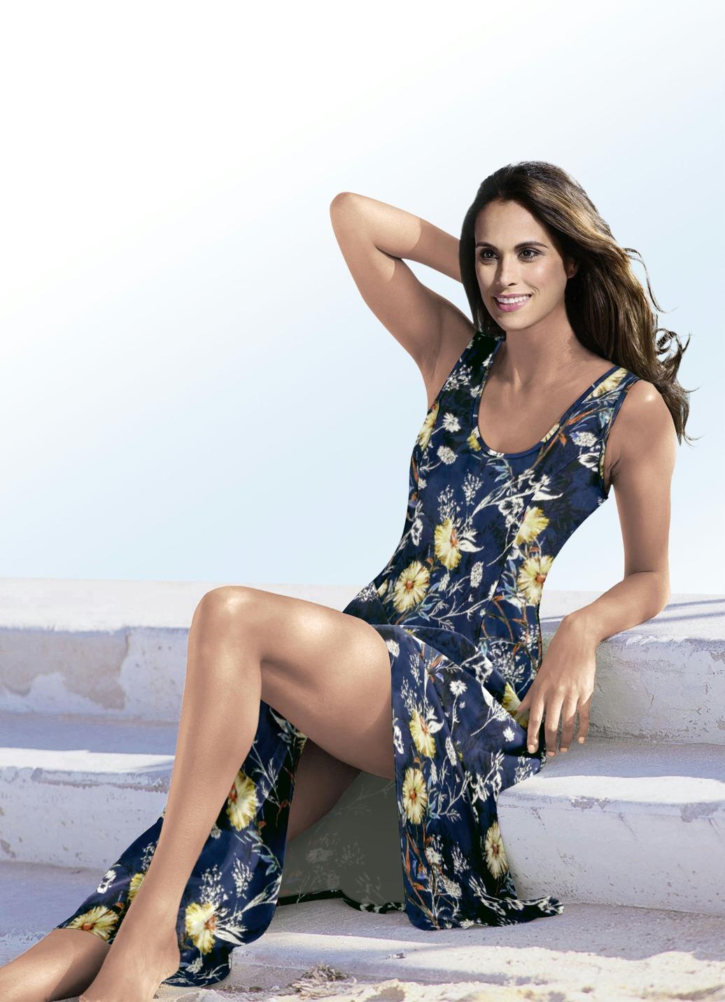 KLAUS MODELLE Kleid mit farbbrillantem Inkjet-Druck Petrol-Bunt Größe 52 Damen Preisvergleich