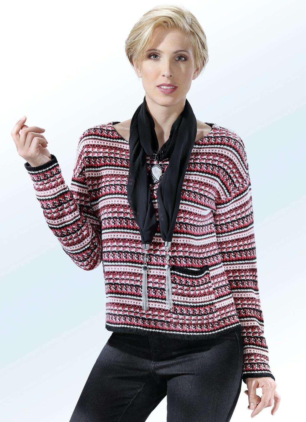 Pullover mit Mustermix allover Schwarz-Erdbeer Größe 44 Damen Preisvergleich