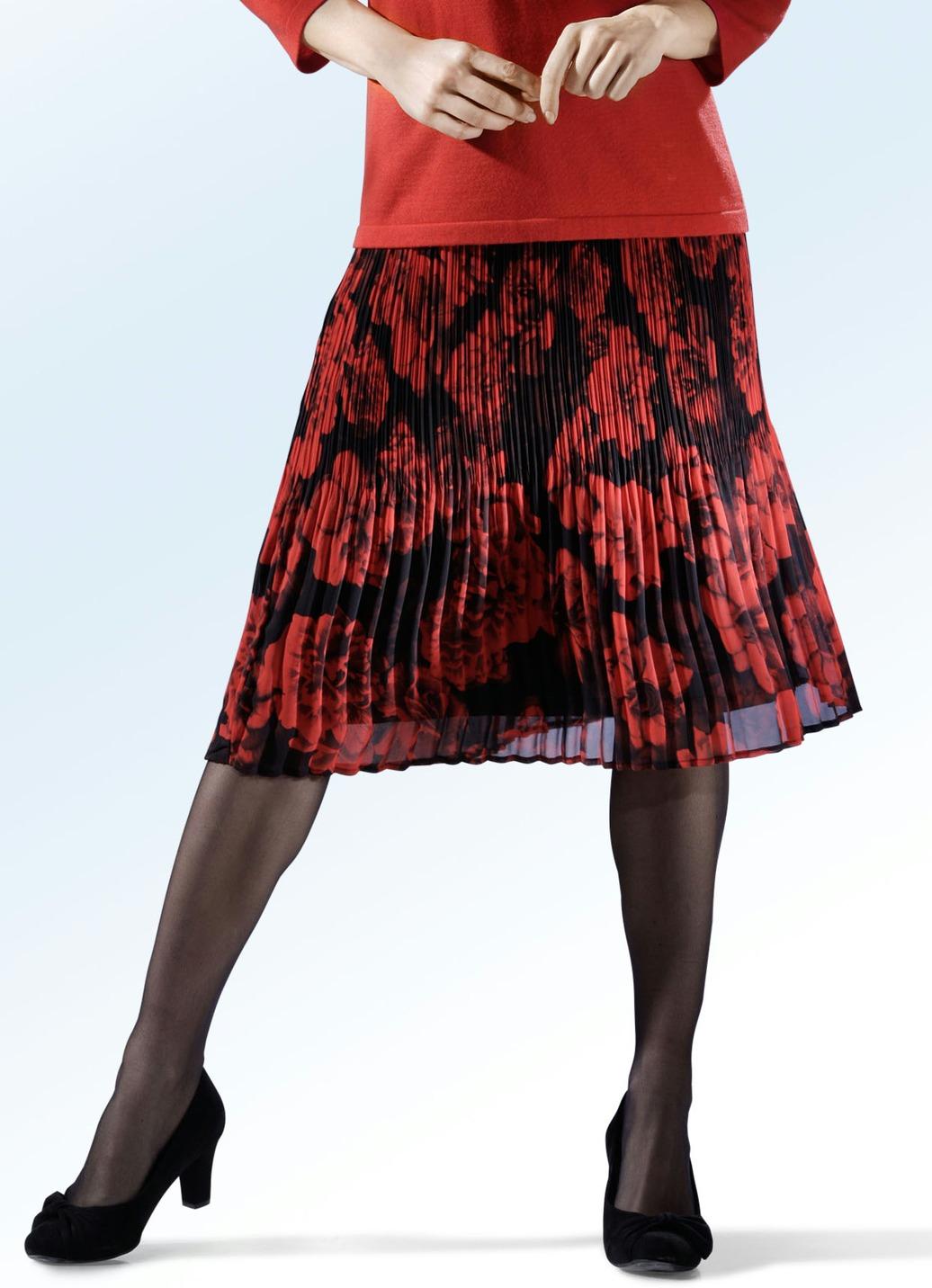 Rock mit extravaganter Plissee-Verarbeitung Größe (48/50) Schwarz-Rot Damen Preisvergleich