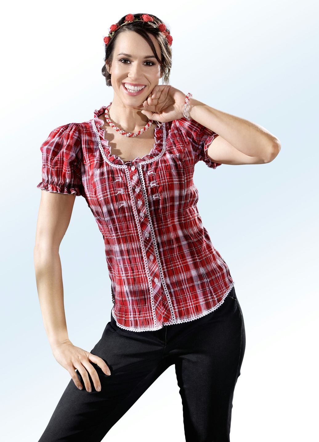 OS TRACHTEN Bluse mit dekorativer Rüschenzier Rot-Weiss Größe 46 Damen Preisvergleich