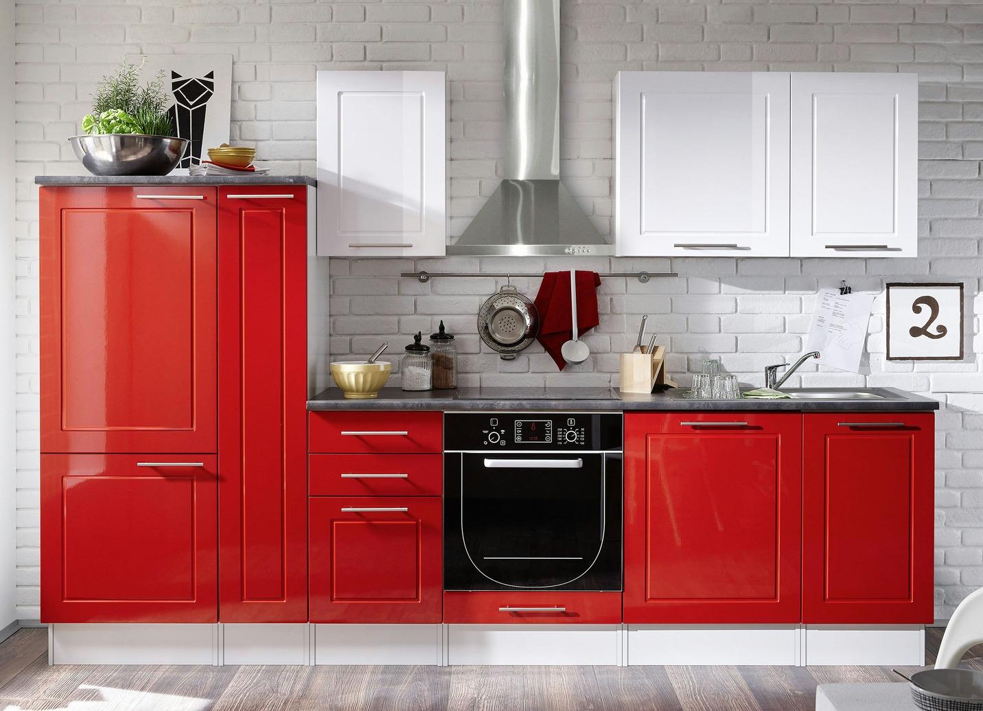 Küchenblock verschiedene Ausführungen ohne Aufbauservice Weiss-Rot