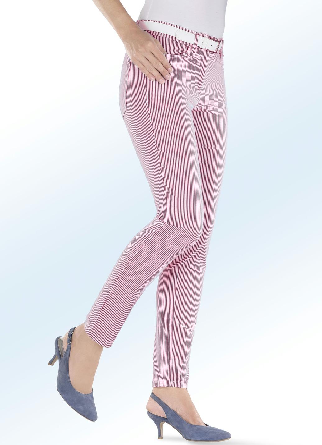 4-Pocket-Hose in angsagter Streifenoptik in 3 Farben Weiss-Rot Größe 40 Damen Preisvergleich