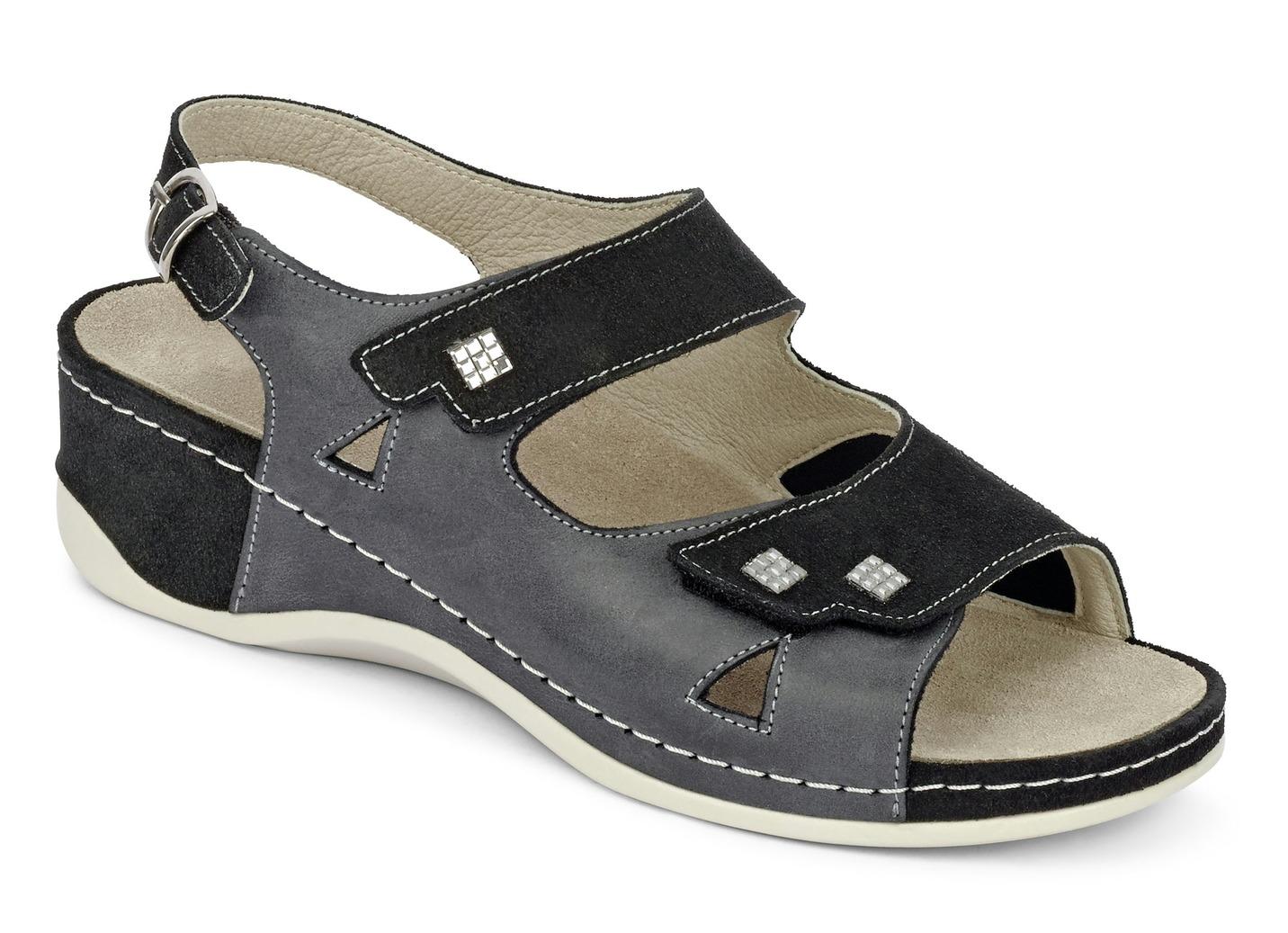 Sandalette  mit herausnehmbarem Lederfußbett Weite H Schwarz-Anthrazit Größe 36 Damen Preisvergleich