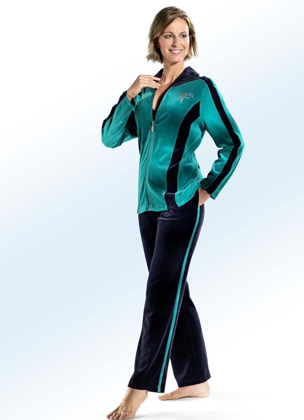 Hausanzug von COMODO mit Strasssteinzier Smaragd-Marine Größe 38 Damen Preisvergleich