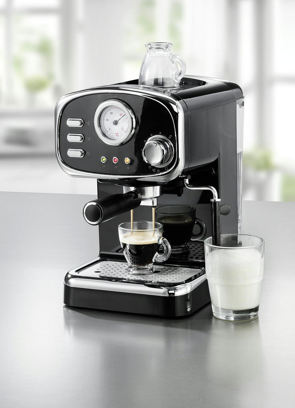Espressomaschine im Retro-Design Schwarz Preisvergleich