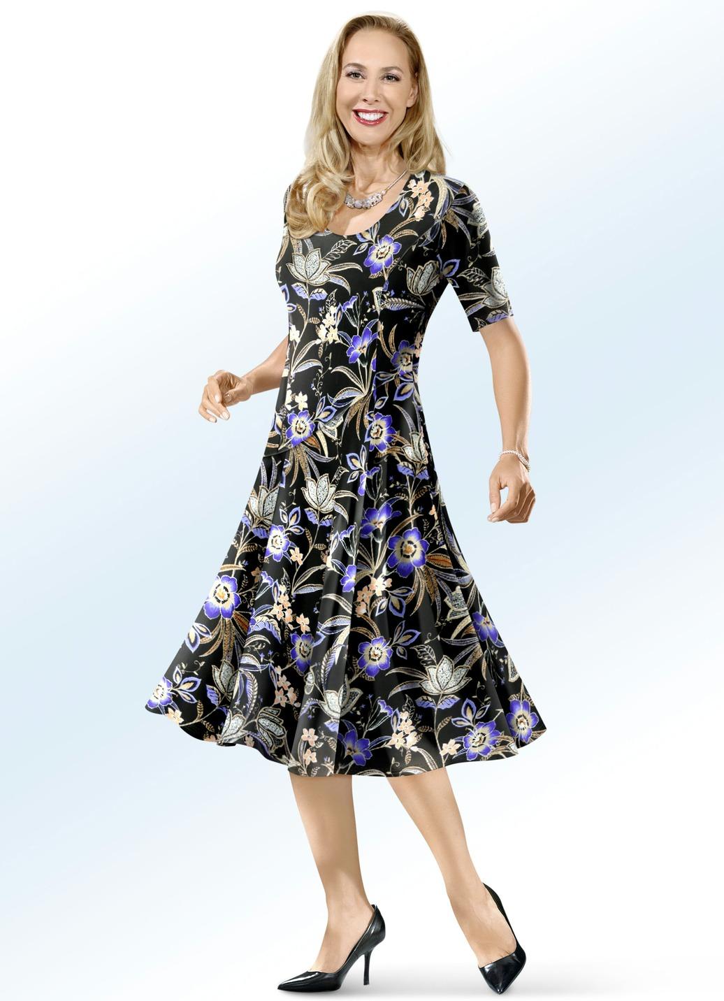 KLAUS MODELLE Kleid mit farbbrillantem Inkjet-Druck Schwarz-Bunt Größe 23 Damen Preisvergleich