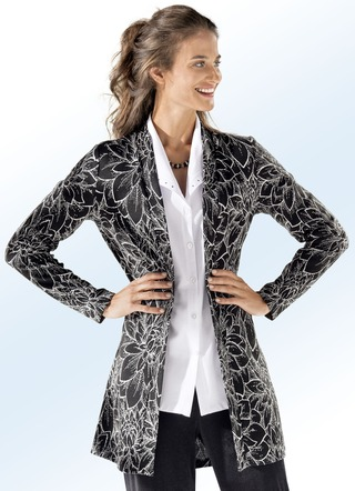 ELENA EDEN Long-Strickjacke in Jacquard-Dessin