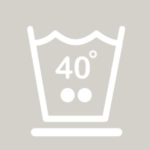 Waschhinweis für pflegeleichte Wäsche bei 40 Grad